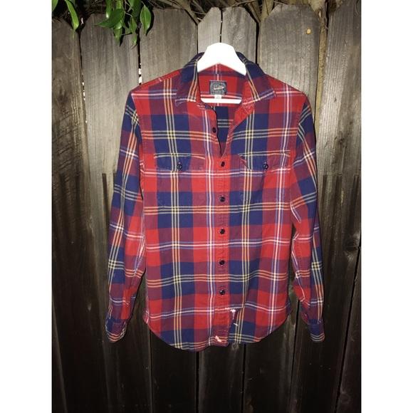 Men's J.Crew Red Plaid Shirt Shirt Size XS